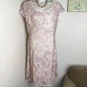 Reba ballet slipper pink lace overlay dress 1x
